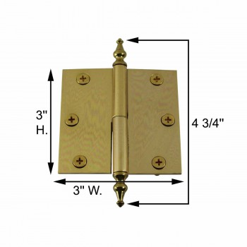 spec-<PRE>3in Lift Off Right Brass Cabinet Hinge Vintage Temple Tip </PRE>