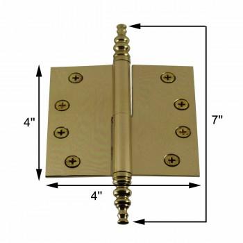 """spec-<PRE>4"""" Lift Off Right Brass Door Hinge Vintage Steeple Tip </PRE>"""