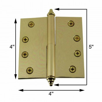 spec-<PRE>4 inch Lift Off Right Brass Door Hinge Vintage Decor Tip </PRE>