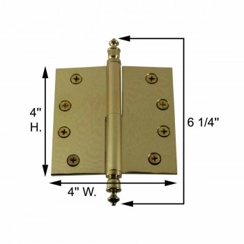 spec-<PRE>4 inch Lift Off Right Brass Door Hinge Vintage Urn Tip </PRE>