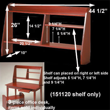 spec-<PRE>Computer Desk Shelf Cherry Stain Hardwood 44&quot;W </PRE>
