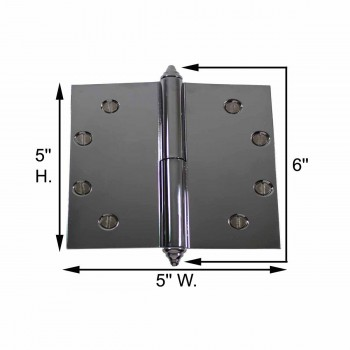 spec-<PRE>5 in. Lift Off Right Chrome Brass Door Hinge Decor Tip </PRE>