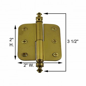 spec-<PRE>2&quot; x 2.5&quot; Lift Off Right Cabinet Hinge Radius Brass Urn Tip </PRE>