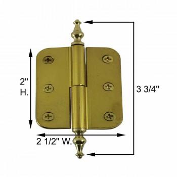 spec-<PRE>2in x 2.5 Lift Off Right Cabinet Hinge Radius Brass Temple </PRE>