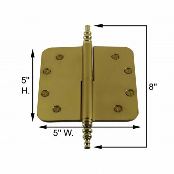 spec-<PRE>5&quot; Lift Off Right Brass Door Hinge Radius Steeple Tip </PRE>