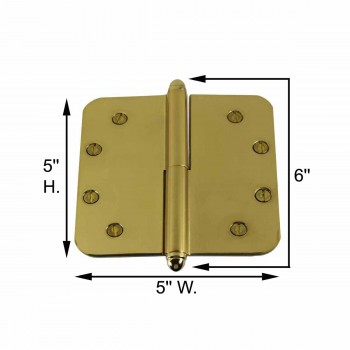 spec-<PRE>5inch Lift Off Right Brass Door Hinge Radius Helmet Tip </PRE>