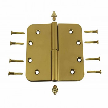 <PRE>5 inch Lift Off Right Brass Door Hinge Radius Decor Tip </PRE>zoom3
