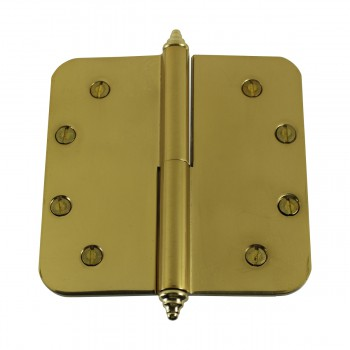 <PRE>5 inch Lift Off Right Brass Door Hinge Radius Decor Tip </PRE>zoom6