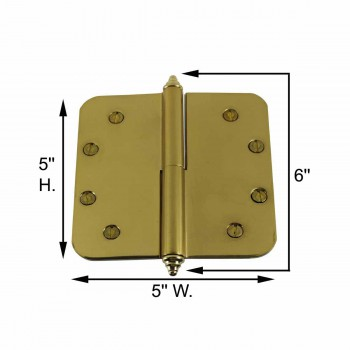 spec-<PRE>5 inch Lift Off Right Brass Door Hinge Radius Decor Tip </PRE>