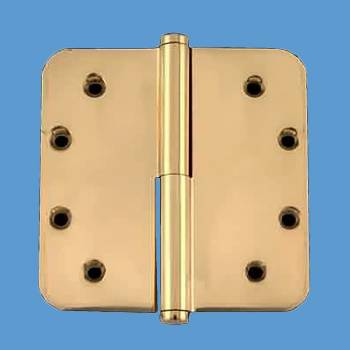 <PRE>5inch Lift Off Right Brass Door Hinge Radius Coin Tip </PRE>zoom2