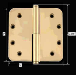 spec-<PRE>5&quot; Lift Off Right Brass Door Hinge Radius Coin Tip </PRE>