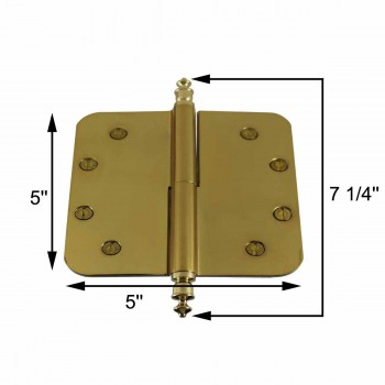 "spec-<PRE>5"" Lift Off Right Brass Door Hinge Radius Urn Tip </PRE>"