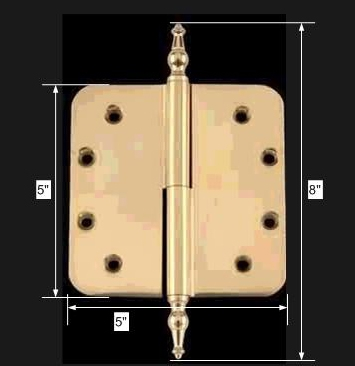 spec-<PRE>5in Lift Off Right Brass Door Hinge Radius Temple Tip </PRE>