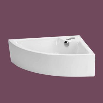 <PRE>Small Bathroom Corner Sink Above Counter Angled Vessel Faucet Hole and Overflow </PRE>zoom2