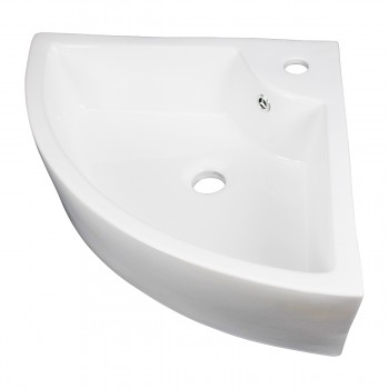 <PRE>Small Bathroom Corner Sink Above Counter Angled Vessel Faucet Hole and Overflow </PRE>zoom3