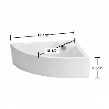 spec-<PRE>Small Bathroom Corner Sink Above Counter Angled Vessel Faucet Hole and Overflow </PRE>