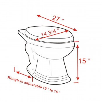 spec-<PRE>Toilet Part Bone Vitreous Sheffield Elongated Rear Entry Toilet Bowl Only</PRE>