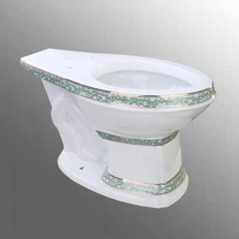 Renovators Supply Sheffield Elongated Entry Bowl WhiteGoldBlue Toilet Part White Toilet Bowl Only Vitreous China Toilet Bowl Only Glossy Toilet Bowl Only