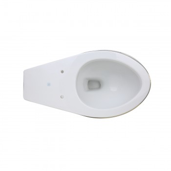 Renovators Supply Sheffield Elongated Entry Bowl WhiteGoldBlue Toilet Part White Toilet Bowl Only Vitreous China Toilet Bowl Only Glossy Toilet Bowl Only