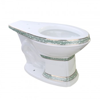 Elongated Toilet Rear Entry Bowl White/Gold/Blue Sheffield Toilet Part15293grid
