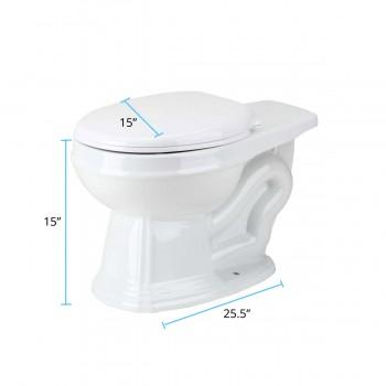 spec-<PRE>Round Toilet Bowl For High Tank Toilet White</PRE>
