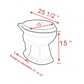 spec-<PRE>Round Toilet Rear Entry Bowl For High Tank Toilet</PRE>