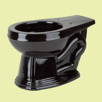 Toilets - Black Sheffield Deluxe Round Toilet Bowl Only L-pipe High-tank by the Renovator's Supply