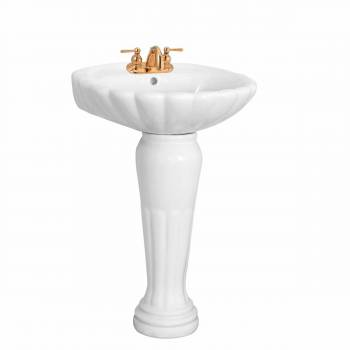 <PRE>Bathroom Pedestal Sink White China Oceanside Centerset Faucet Holes</PRE>