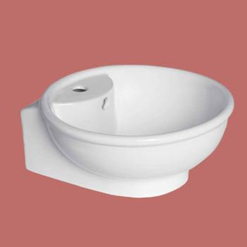 <PRE>Bathroom Vessel Sink White Ceramic Faucet Hole Lucille </PRE>zoom2