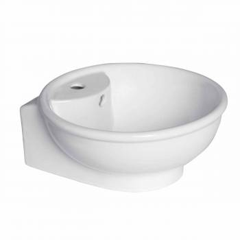 Bathroom Vessel Sink White Ceramic Faucet Hole Lucille 15327grid
