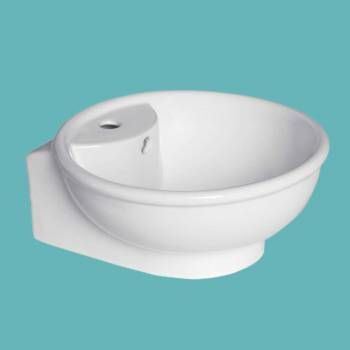 spec-<PRE>Bathroom Vessel Above Counter Sink White China Single Faucet Hole With Overflow</PRE>
