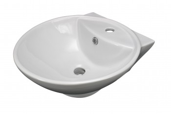 Bathroom Vessel Above Counter Sink White China Single Faucet Hole With Overflow15329grid