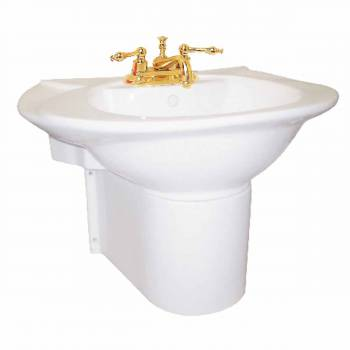 Half Basin Pedestal Sink Wall Mount Bathroom Basin White 15355grid