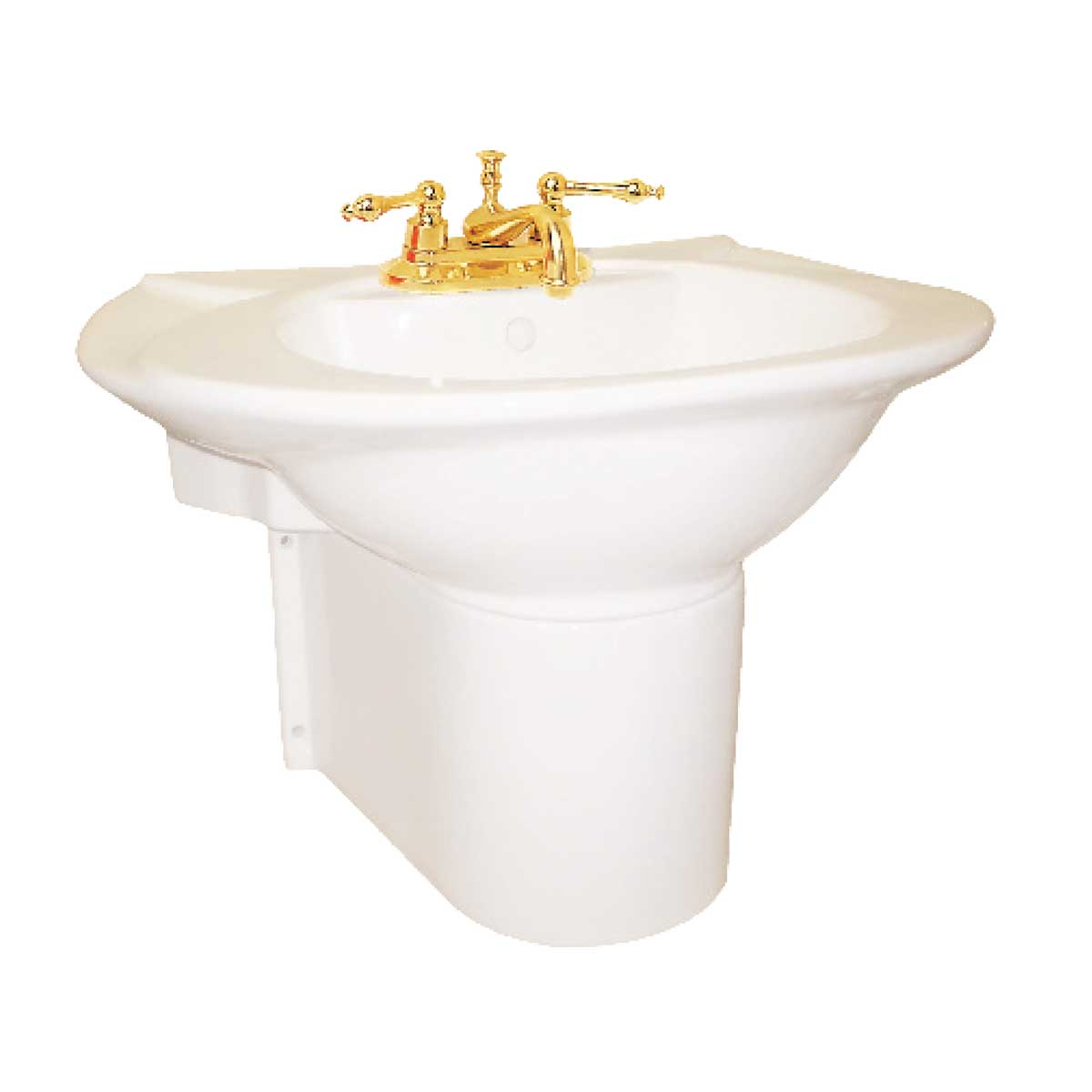 Half Pedestal Sink Wall Mount Bathroom Basin Bone