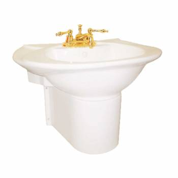 Half Pedestal Sink Wall Mount Bathroom Basin Bone 15356grid