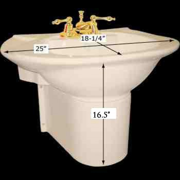 spec-<PRE>Half Pedestal Sink Wall Mount Bathroom Basin Bone </PRE>