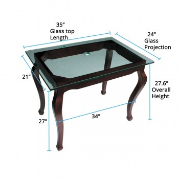 spec-<PRE>Bathroom Clear Glass Console Table Provincial Leg Top Mount </PRE>