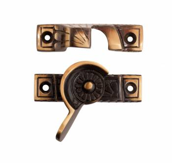Ornate Solid Brass Window Sash Lock Antique Brass