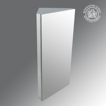 Corner Medicine Cabinet Polished Stainless Steel Opens from right side - Corner sinks, corner sink info & unique corner accessories, quantity discounts on corner toilets, corner pedestal sinks, corner wall mount sinks, corner console sinks, counter top corner sinks, corner counter top sinks, glass corner pedestal sinks, corner cabinets, corner bathroom fixtures, corner bathroom sinks, corner sink faucets & free shipping by Renovator's Supply.