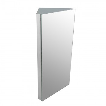 Corner Medicine Cabinet Polished Stainless Steel Opens from right side