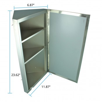 spec-<PRE>Renovator's Supply Brushed Stainless Steel Wall Mount Corner Medicine Cabinet</PRE>