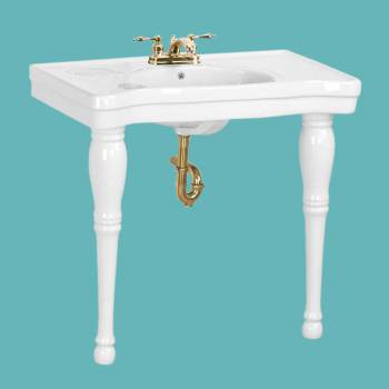 Console Sinks - Belle Epoque Deluxe White Two Spindle Legs 4 in. Center set by the Renovator's Supply