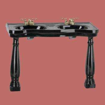 Belle Epoque Double Deluxe Black Roman 4 in Centerset - Console Sinks, console sink info & unique accessories, quantity discounts on Console Sinks, pedestal sinks, bathroom fixtures, bathroom sinks, sink faucets & free shipping by Renovator's Supply.
