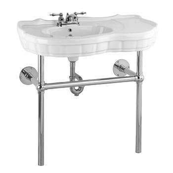 Centerset White Vitreous China Southern Belle Sink Bistro Chrome Cente