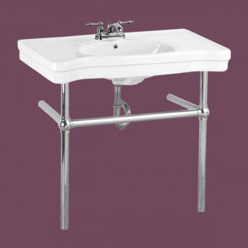 Belle Epoque Deluxe Chrome Bistro Frame White 4 in. Centerset - Console Sinks, console sink info & unique accessories, quantity discounts on Console Sinks, pedestal sinks, bathroom fixtures, bathroom sinks, sink faucets & free shipping by Renovator's Supply.