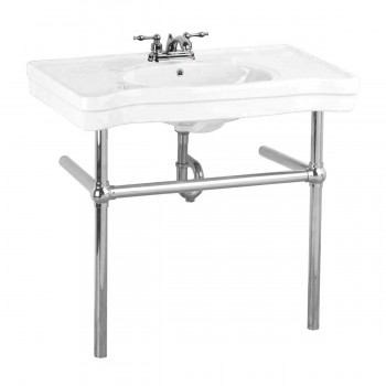 White Console Sink Belle Epoque Deluxe with Chrome Bistro Legs15516grid