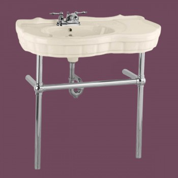 Southern Belle Chrome Bistro Frame Bone 4 in. Centerset - Console Sinks, console sink info & unique accessories, quantity discounts on Console Sinks, pedestal sinks, bathroom fixtures, bathroom sinks, sink faucets & free shipping by Renovator's Supply.
