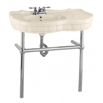 Biscuit Console Sink Porcelain Southern Belle with Chrome Bistro Legs15518grid