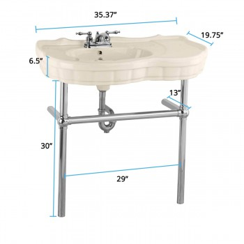 spec-<PRE>Biscuit Console Sink China Southern Belle with Chrome Bistro Legs</PRE>