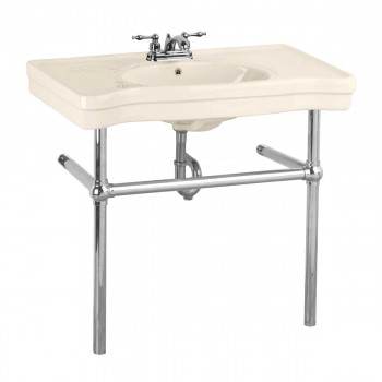 Belle Epoque Deluxe Chrome Bistro Frame Bone 4 in. Centerset - Console Sinks, console sink info & unique accessories, quantity discounts on Console Sinks, pedestal sinks, bathroom fixtures, bathroom sinks, sink faucets & free shipping by Renovator's Supply.